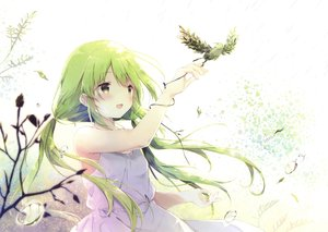 Rating: Safe Score: 80 Tags: animal bird blush dress green_eyes long_hair scan shiratama summer_dress twintails User: RyuZU