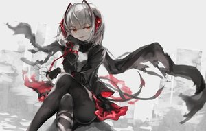 Rating: Safe Score: 62 Tags: arknights gloves gray_hair headphones horns orange_eyes pantyhose scarf shorts sunoril w_(arknights) User: BattlequeenYume