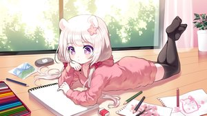 Rating: Safe Score: 72 Tags: animal_ears blush hoodie loli long_hair mechuragi original paper purple_eyes thighhighs twintails white_hair zettai_ryouiki User: BattlequeenYume