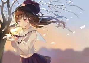 Rating: Safe Score: 83 Tags: brown_hair hat long_hair navel original pink_eyes school_uniform skirt snow tree winter yushima User: BattlequeenYume