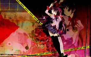 Rating: Safe Score: 69 Tags: bakemonogatari black_eyes long_hair monogatari_(series) purple_hair school_uniform senjougahara_hitagi skirt thighhighs tie watermark weapon zoom_layer User: pantu