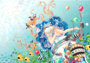 Rating: Safe Score: 21 Tags: animal barefoot blonde_hair bloomers blue_eyes candy dress fish lolita_fashion long_hair mintchoco original ribbons twintails underwater water User: FormX