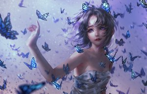 Rating: Safe Score: 80 Tags: black_hair butterfly dress kimetsu_no_yaiba kochou_shinobu nixeu no_bra purple_eyes realistic User: BattlequeenYume