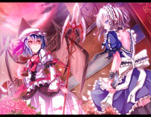 Rating: Safe Score: 96 Tags: 2girls blue_eyes blue_hair bow cross dabadhi dress flowers hat izayoi_sakuya knife maid moon petals red_eyes remilia_scarlet rose spear thighhighs touhou vampire weapon wings User: opai