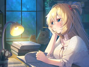 Rating: Safe Score: 30 Tags: akai_haato blonde_hair blue_eyes book hololive long_hair magowasabi night sky stars User: BattlequeenYume