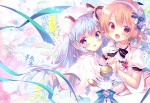 Rating: Safe Score: 44 Tags: 2girls aqua_eyes blonde_hair dress gochuumon_wa_usagi_desu_ka? hat hoto_cocoa kafuu_chino loli long_hair microphone mitsumomo_mamu pink_hair red_eyes ribbons scan twintails User: Nepcoheart