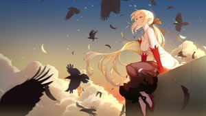 Rating: Safe Score: 154 Tags: animal bakemonogatari bird blonde_hair breasts clouds dress elbow_gloves gloves kissshot_acerolaorion_heartunderblade kizumonogatari long_hair monogatari_(series) oshino_shinobu ribbons sky vampire wukloo yellow_eyes User: RyuZU