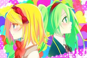 Rating: Safe Score: 22 Tags: blush close hatsune_miku heart kagamine_rin temari_(deae) vocaloid User: MissBMoon