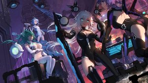 Rating: Safe Score: 115 Tags: aqua_eyes aqua_hair black_heart blanc bodysuit breast_hold breasts building city cleavage elbow_gloves gloves green_hair green_heart group hyperdimension_neptunia long_hair navel neptune noire ponytail purple_eyes purple_hair purple_heart short_hair swd3e2 sword thighhighs vert weapon white_hair white_heart User: RyuZU