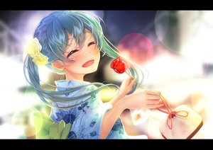 Rating: Safe Score: 20 Tags: apple candy food fruit hatsune_miku imo_bouya japanese_clothes vocaloid yukata User: FormX