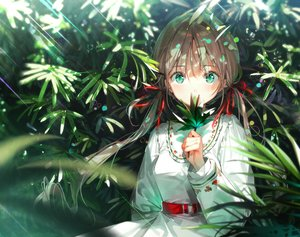 Rating: Safe Score: 129 Tags: brown_hair dress dsmile green_eyes leaves long_hair original ribbons twintails User: BattlequeenYume
