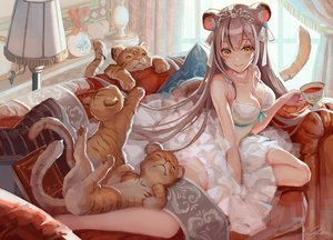 Rating: Safe Score: 93 Tags: animal animal_ears breasts catgirl cleavage couch dress drink okuma_mai original signed tail tiger User: BattlequeenYume