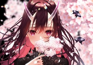 Rating: Safe Score: 66 Tags: brown_hair butterfly cherry_blossoms close flowers horns ktmzlsy720 long_hair original pink_eyes User: BattlequeenYume