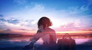 Rating: Safe Score: 58 Tags: clouds mifuru original scenic school_uniform short_hair sky sunset water User: FormX