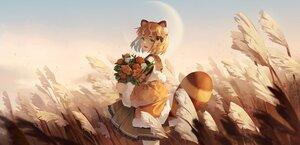 Rating: Safe Score: 44 Tags: animal_ears bell braids flowers green_eyes ji_dao_ji moon orange_eyes school_uniform short_hair skirt sky tagme_(character) tail User: BattlequeenYume