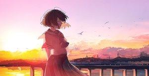 Rating: Safe Score: 92 Tags: brown_hair mifuru original scenic school_uniform short_hair skirt sunset User: RyuZU