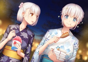 Rating: Safe Score: 14 Tags: 2girls aliasing aqua_eyes blush breasts clouds food japanese_clothes miyai_sen night orange_eyes original short_hair sky stars summer watermark white_hair yukata User: RyuZU