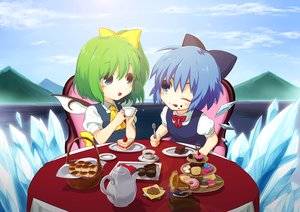 Rating: Safe Score: 24 Tags: 2girls blue_eyes blue_hair blush bow candy cirno clouds daiyousei drink fairy food futoumeido green_hair short_hair sky touhou wings wink User: RyuZU