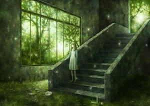 Rating: Safe Score: 151 Tags: barefoot dress grass green kazami_ehoh original scenic stairs tree User: FormX