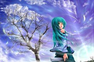 Rating: Safe Score: 53 Tags: aqua_hair clouds green_eyes husky_(artist) japanese_clothes kochiya_sanae long_hair miko sky tagme touhou tree User: Zolxys