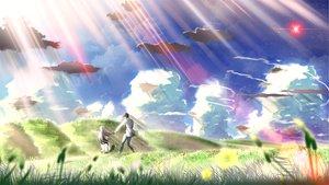 Rating: Safe Score: 55 Tags: clouds eden flowers grass landscape long_hair scenic sky skyt2 white_hair User: Maboroshi