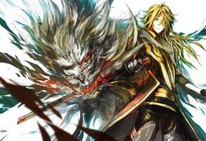 Rating: Safe Score: 1 Tags: blonde_hair long_hair lowlight_kirilenko shishiou sword touken_ranbu weapon User: Flandre93