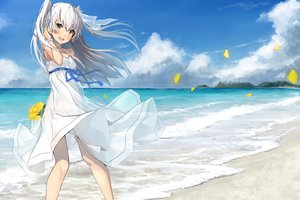 Rating: Safe Score: 55 Tags: amatsukaze_(kancolle) anthropomorphism beach clouds dress gray_hair kantai_collection long_hair petals sky summer_dress takanashi_kei twintails water yellow_eyes User: RyuZU