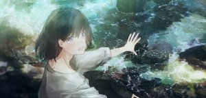 Rating: Safe Score: 64 Tags: all_male black_hair brown_eyes male original short_hair tagme_(artist) water User: sadodere-chan