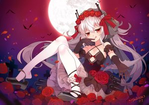 Rating: Safe Score: 98 Tags: animal anthropomorphism azur_lane bat cross dress elbow_gloves flowers gloves gray_hair headdress hmas_vampire_(azur_lane) long_hair moon pantyhose petals red_eyes rose signed sky tsubasa_tsubasa User: RyuZU