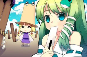 Rating: Safe Score: 20 Tags: akino_sora green_hair kochiya_sanae moriya_suwako touhou User: HawthorneKitty