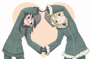 Rating: Safe Score: 34 Tags: 2girls aqua_eyes black_hair blonde_hair blush chito gloves heart military miruzawa_akechi short_hair shoujo_shuumatsu_ryoukou uniform yuuri User: RyuZU