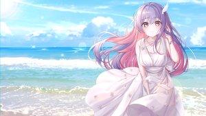 Rating: Safe Score: 74 Tags: bbeedol beach blush clouds dress long_hair necklace original purple_eyes purple_hair sky summer_dress water wristwear User: Dreista