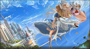 Rating: Safe Score: 96 Tags: alice_in_wonderland alice_(wonderland) animal_ears blonde_hair blue_eyes boots building bunny_ears ciyuan clouds dress red_eyes sky water white_hair white_rabbit wink User: FormX