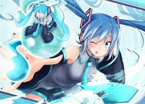 Rating: Safe Score: 25 Tags: akino_coto aqua_eyes aqua_hair blush hatsune_miku headphones skirt tie vocaloid wink User: sadodere-chan