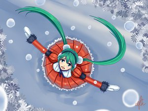 Rating: Safe Score: 40 Tags: christmas hatsune_miku signed snow thefallenheart twintails vocaloid User: HawthorneKitty