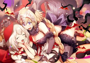 Rating: Safe Score: 49 Tags: 2girls animal animal_ears bat blonde_hair bow braids breasts cleavage cosplay elbow_gloves fate/grand_order fate_(series) gloves gray_hair halloween headdress jeanne_d'arc_alter jeanne_d'arc_(fate) long_hair marie_antoinette_(fate/grand_order) no-kan ponytail purple_eyes tail thighhighs wolfgirl User: RyuZU
