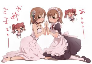 Rating: Safe Score: 95 Tags: blush bow brown_eyes brown_hair camera chibi dress headdress kneehighs maid misaka_mikoto ribbons shirai_kuroko shomon short_hair skirt to_aru_kagaku_no_railgun to_aru_majutsu_no_index twintails white User: HawthorneKitty