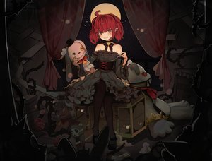 Rating: Safe Score: 51 Tags: blush bow choker corset dark doll dungeon_and_fighter female_mage_(dnf) goth-loli hyorang lolita_fashion moon night pantyhose pointed_ears red_eyes red_hair short_hair twintails User: otaku_emmy