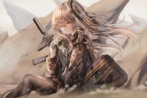 Rating: Safe Score: 20 Tags: anthropomorphism apraxia girls_frontline gray_hair gun long_hair ponytail scar ump-45_(girls_frontline) weapon yellow_eyes User: kyxor