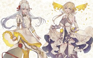 Rating: Safe Score: 36 Tags: 2girls aqua_eyes armor blonde_hair breasts cosplay dress elbow_gloves flowers gloves gray_hair headdress long_hair ojo_aa petals rapunzel_(sinoalice) ribbons rose signed sinoalice snow_white_(sinoalice) thighhighs twintails zettai_ryouiki User: RyuZU