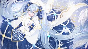 Rating: Safe Score: 37 Tags: blue_eyes blue_hair blush bow braids bunny cape dress gloves hatsune_miku long_hair mullpull snow twintails vocaloid watermark yuki_miku yukine_(vocaloid) User: otaku_emmy