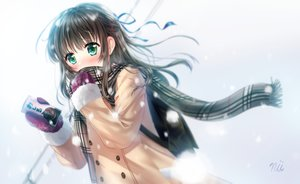 Rating: Safe Score: 18 Tags: ainili brown_hair drink gloves green_eyes long_hair original ribbons scarf signed snow winter User: C4R10Z123GT