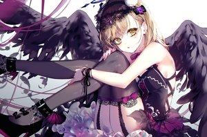 Rating: Safe Score: 86 Tags: bow brown_eyes brown_hair dress feathers garter_belt gothic kinokohime_(mican02rl) misaka_mikoto stockings to_aru_kagaku_no_railgun to_aru_majutsu_no_index waifu2x wings User: BattlequeenYume