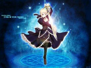 Rating: Safe Score: 46 Tags: blonde_hair dress fate_(series) fate/stay_night green_eyes magic saber sword watermark weapon User: jjjjjhhhhh