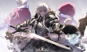 Rating: Safe Score: 51 Tags: armor brown_eyes cape gloves hoodie long_hair male original pixiv_fantasia pointed_ears ryuuzaki_ichi sword weapon white_hair User: ssagwp