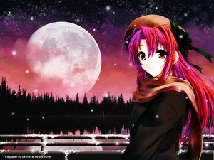 Rating: Safe Score: 12 Tags: long_hair moon original red_eyes red_hair ribbons scarf snow stars User: Oyashiro-sama