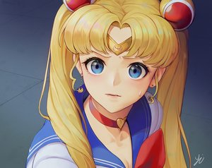 Rating: Safe Score: 34 Tags: blonde_hair blue_eyes choker close headband long_hair parody sailor_moon sailor_moon_(character) school_uniform signed tsukino_usagi twintails y.i._(lave2217) User: sadodere-chan