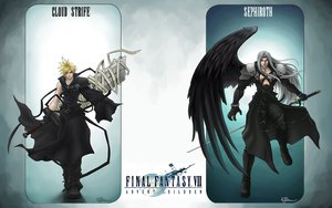 Rating: Safe Score: 28 Tags: bandage blonde_hair boots cape cloud_strife final_fantasy final_fantasy_vii gloves gray_hair long_hair sephiroth short_hair sword weapon wings User: Umbra