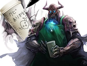 Rating: Safe Score: 70 Tags: all_male apron armor cape drink fate/grand_order fate_(series) horns king_hassan male re_lucy signed skull User: otaku_emmy