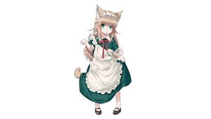 Rating: Safe Score: 25 Tags: 40hara animal_ears apron brown_hair catgirl green_eyes headdress kinako_(40hara) loli long_hair maid original third-party_edit User: gnarf1975
